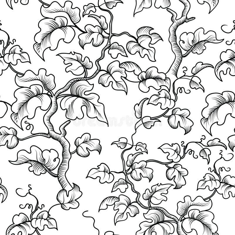 Bloemen naadloos patroon De gegraveerde tak van de tuininstallatie, bladeren vector illustratie