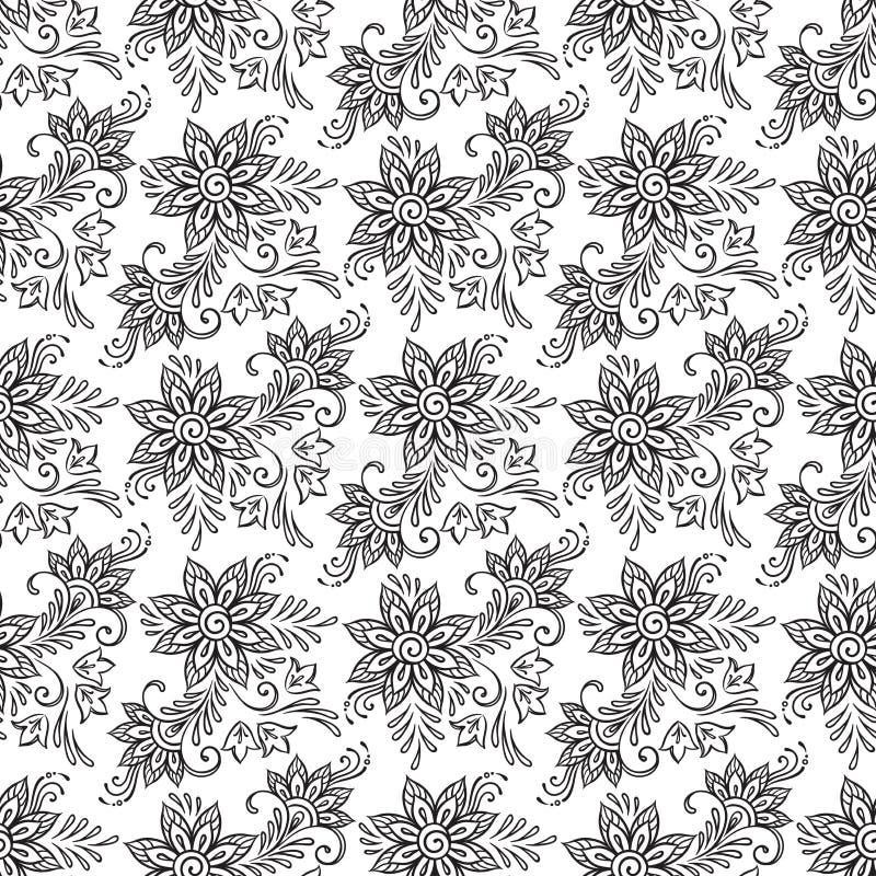 Bloemen naadloos patroon De kleurende vectorillustratie van boekpagina's stock illustratie