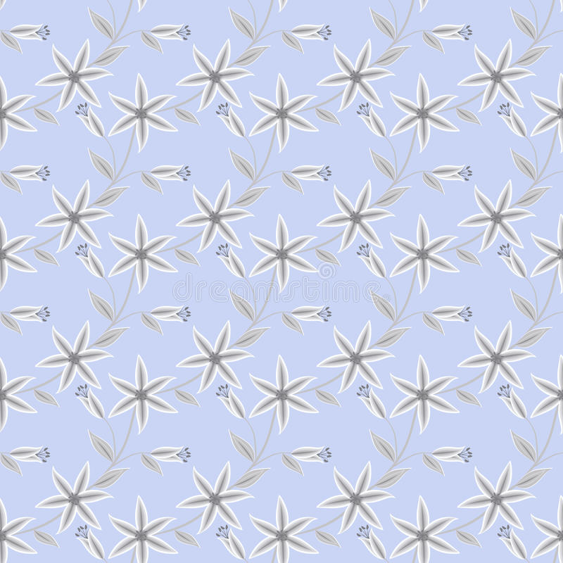 Bloemen naadloos patroon, de leuke lichtblauwe achtergrond van beeldverhaalbloemen stock illustratie