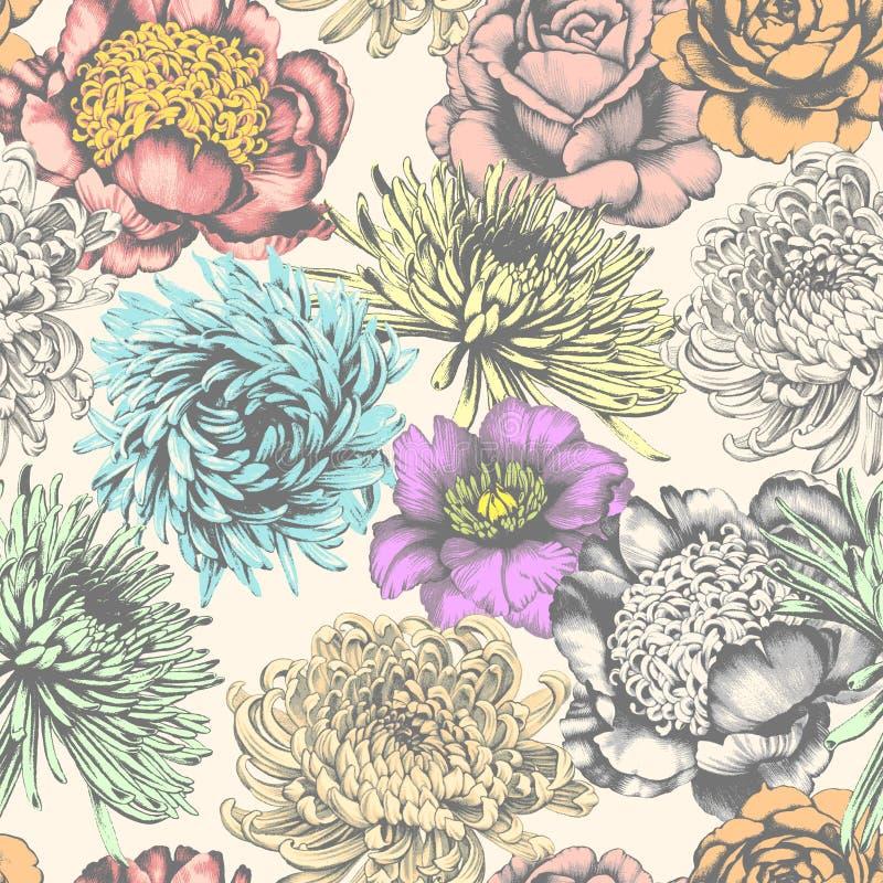 Bloemen Naadloos patroon De tekening van het potlood