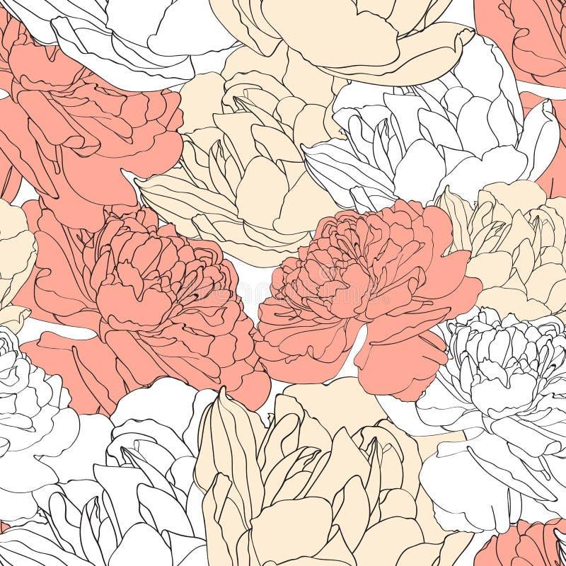 Bloemen naadloos patroon De uitstekende gele en oranje achtergrond met getrokken overzichtshand nam bloemen toe stock illustratie