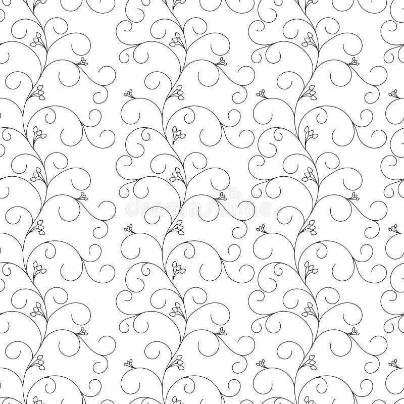 Bloemen naadloos patroon, grijze wijnstokken op een witte achtergrond royalty-vrije stock afbeeldingen
