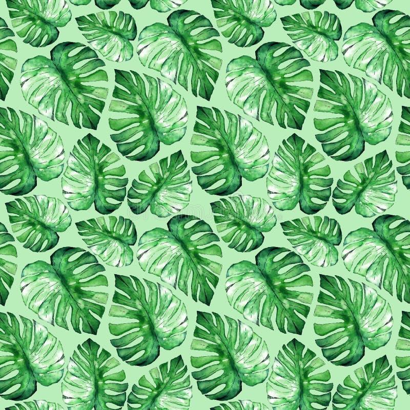 Bloemen naadloos patroon Hand die groene waterverf tropische bladeren trekken vector illustratie