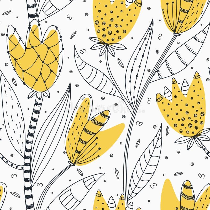 Bloemen naadloos patroon Hand getrokken creatieve abstracte bloemen met krabbeldecoratie Kleurrijk artistiek ontwerp vector illustratie