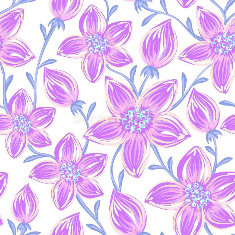 Bloemen naadloos patroon Hand getrokken creatieve bloemen Artistieke achtergrond met bloesem Abstract kruid royalty-vrije illustratie