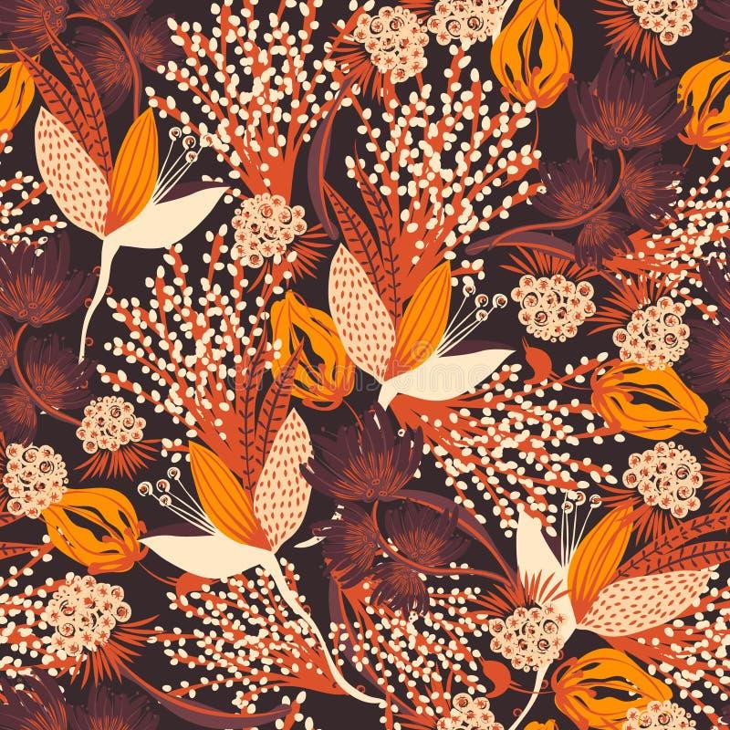 Bloemen naadloos patroon Hand getrokken creatieve bloem royalty-vrije illustratie