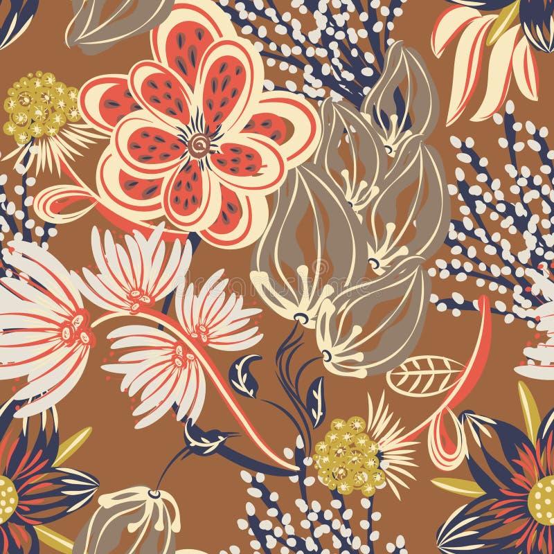 Bloemen naadloos patroon Hand getrokken creatieve bloem Kleurrijke artistieke achtergrond met bloesem Abstract kruid stock illustratie