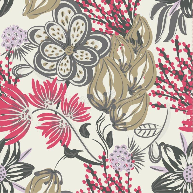 Bloemen naadloos patroon Hand getrokken creatieve bloem Kleurrijke artistieke achtergrond met bloesem Abstract kruid vector illustratie