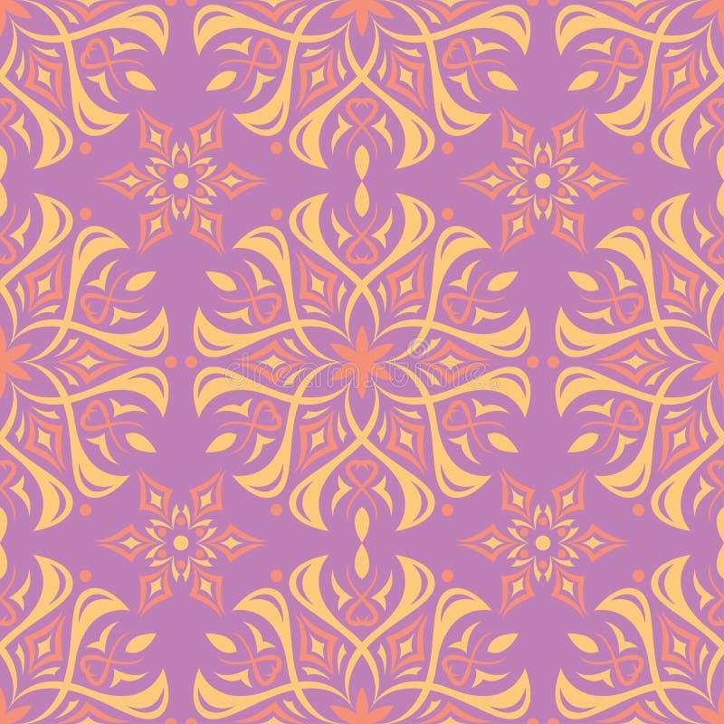 Bloemen naadloos patroon Heldere violette achtergrond met gekleurd ontwerp royalty-vrije illustratie
