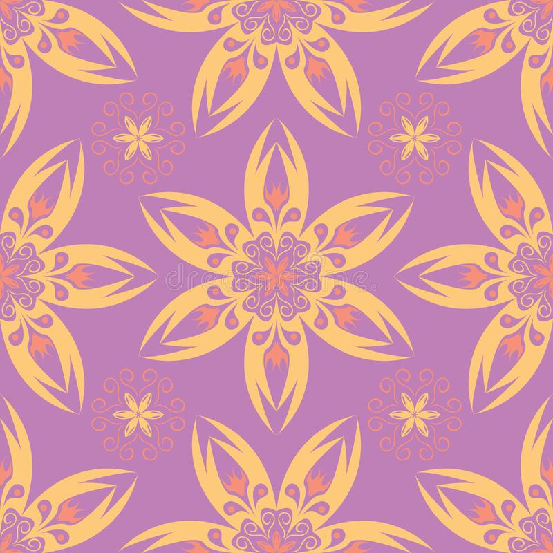Bloemen naadloos patroon Heldere violette achtergrond met gekleurd ontwerp vector illustratie