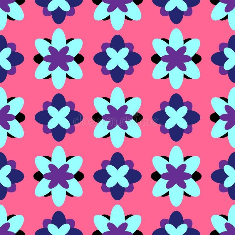Bloemen naadloos patroon Kleurrijke meisjesdruk met abstracte bloemen Vector illustratie Roze, purple, blauwe zwarte, royalty-vrije illustratie