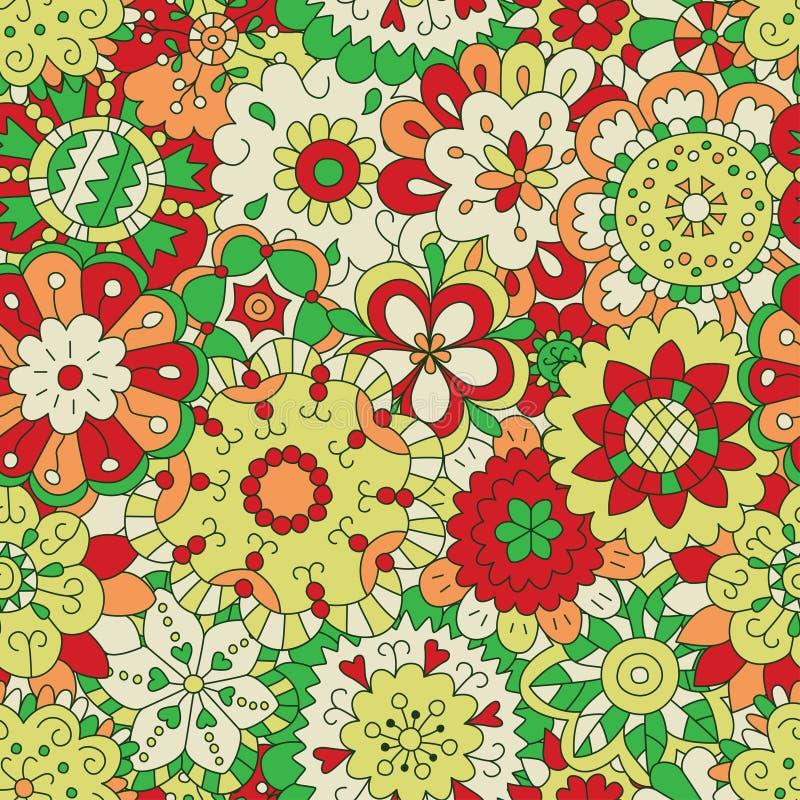 Bloemen Naadloos patroon in krabbel en beeldverhaalstijl kleur stock illustratie