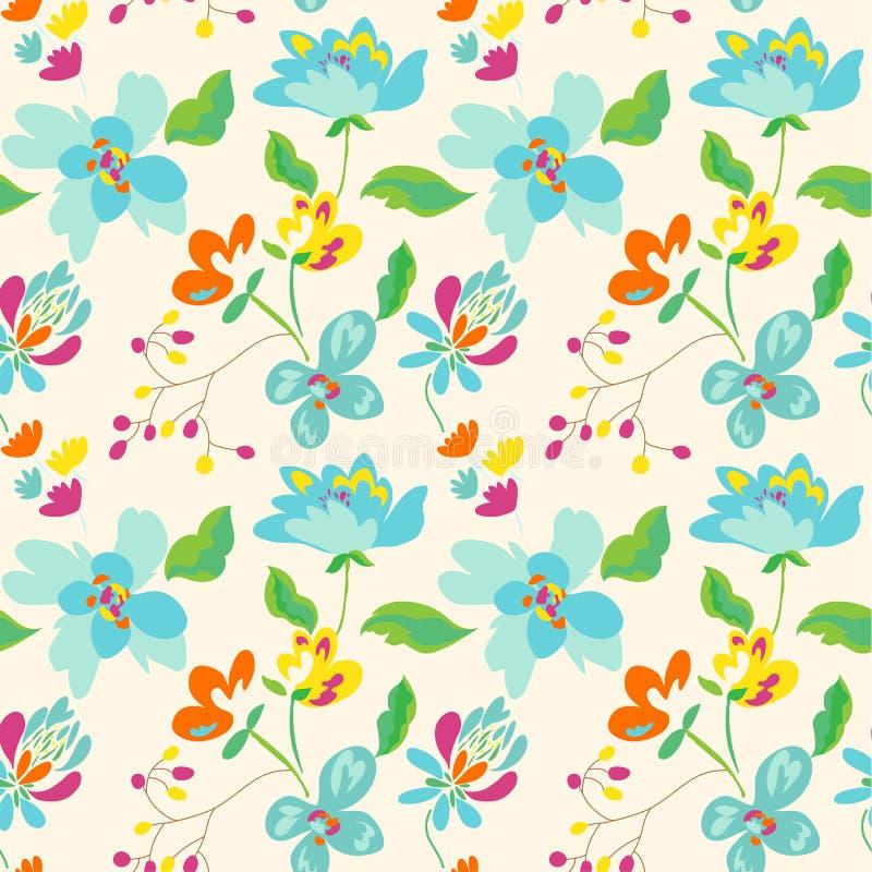 Bloemen naadloos patroon met abstracte bloemen en bladeren stock illustratie