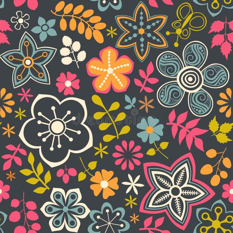 Bloemen naadloos patroon met bloemen Vector het bloeien krabbelflo vector illustratie