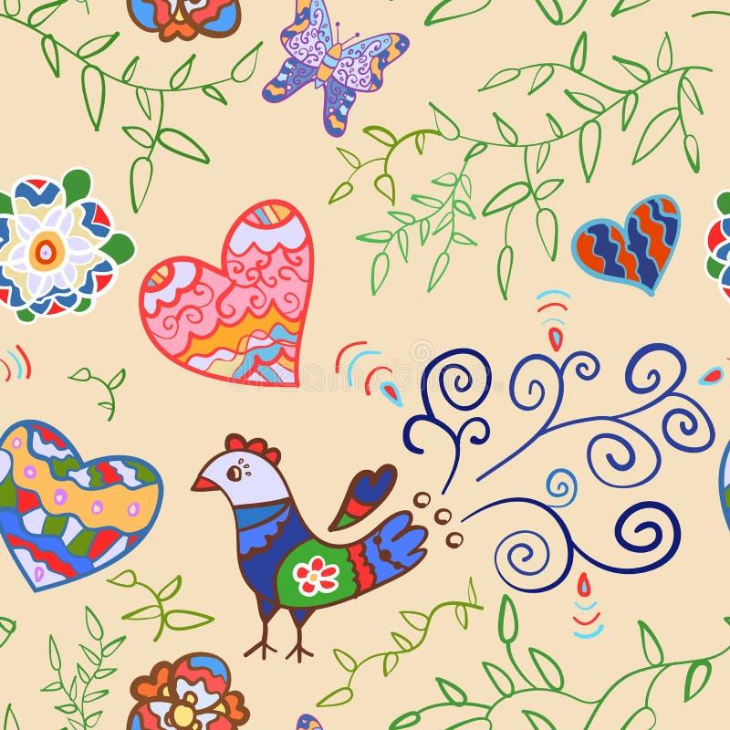 Bloemen naadloos patroon met bloemen, vogel, harten stock illustratie