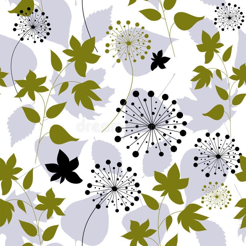 Bloemen naadloos patroon met bosbladeren royalty-vrije illustratie