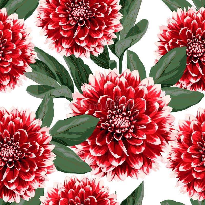 Bloemen naadloos patroon met de hand getrokken rode bloemen en de bladeren van de dahlia'sherfst Illustratie voor textiel royalty-vrije illustratie