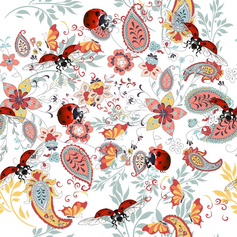 Bloemen naadloos patroon met etnisch ornament, dameinsect en bloemen stock illustratie