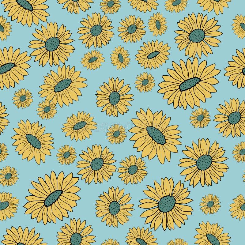 Bloemen naadloos patroon met gekleurde bloemen Vector illustratie stock afbeelding