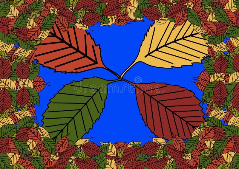 Bloemen naadloos patroon met gevallen bladeren De herfst De daling van het blad Kleurrijke artistieke achtergrond Vector illustra royalty-vrije illustratie