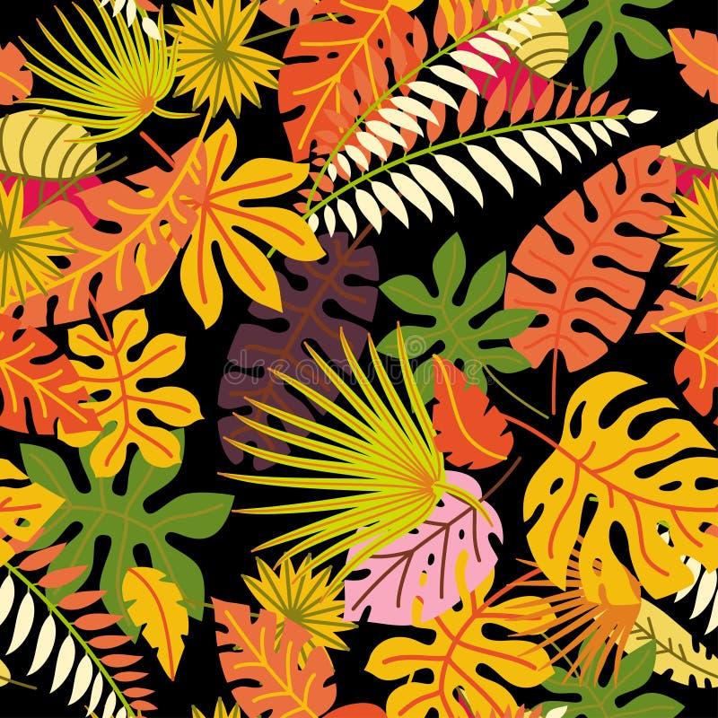Bloemen naadloos patroon met gevallen bladeren royalty-vrije illustratie