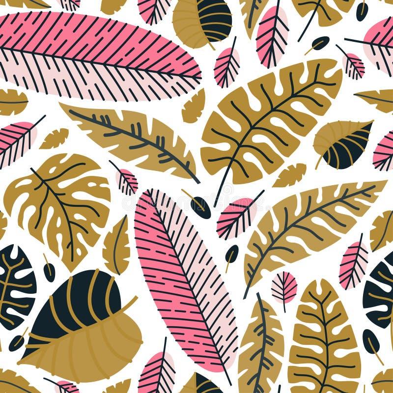 Bloemen naadloos patroon met gevallen bladeren stock illustratie