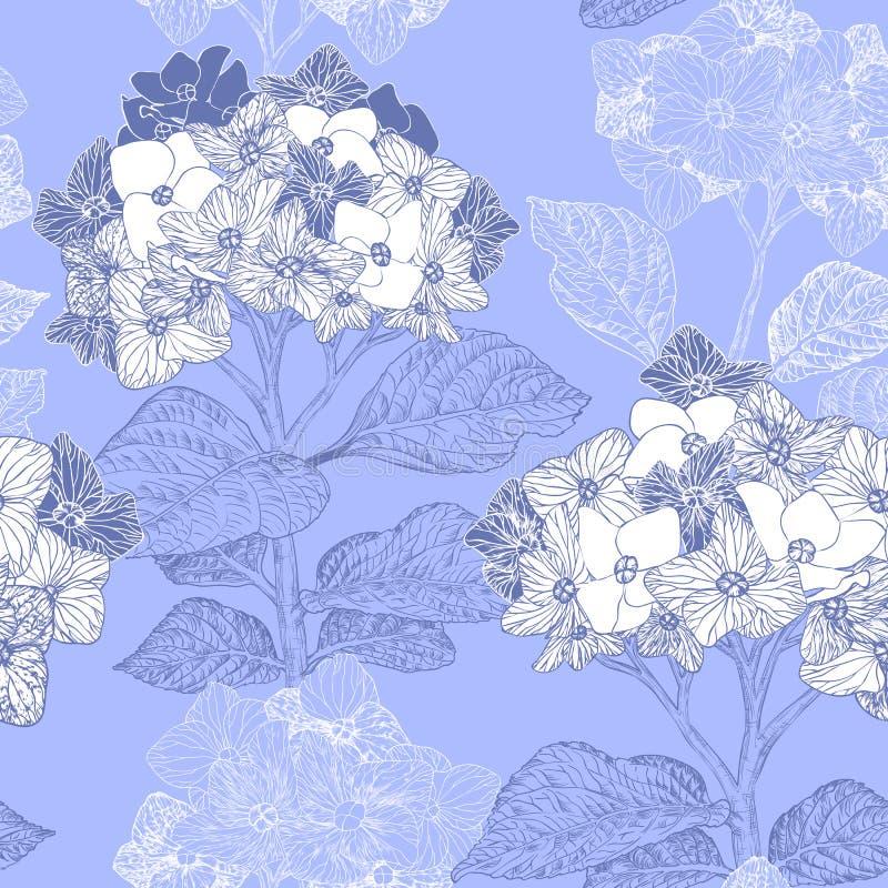 Bloemen naadloos patroon met hydrangea hortensiabloemen stock illustratie