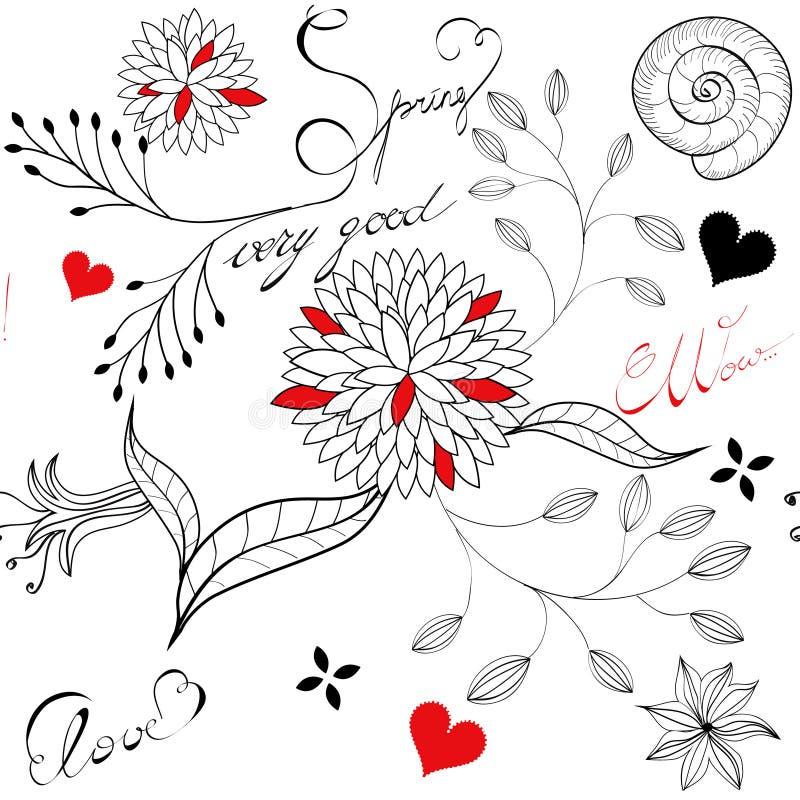 Bloemen naadloos patroon met inschrijving royalty-vrije illustratie