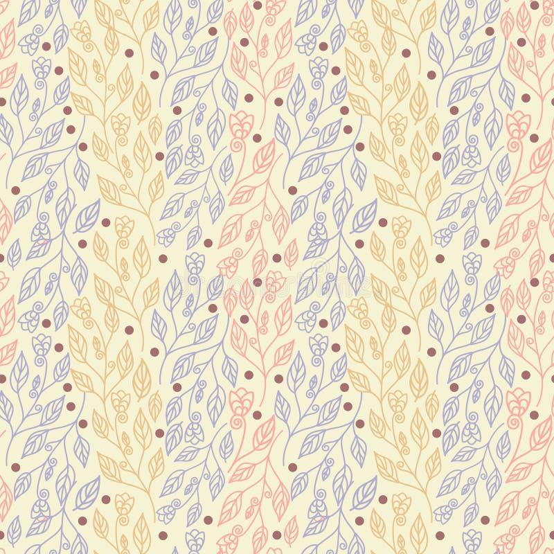 Bloemen naadloos patroon met kleurrijke heldere bladeren en mooie bloemen vectorillustratie stock illustratie