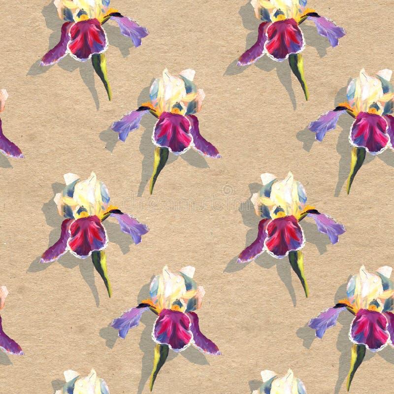 Bloemen naadloos patroon met olie geschilderde irissen op ambachtdocument geweven achtergrond vector illustratie