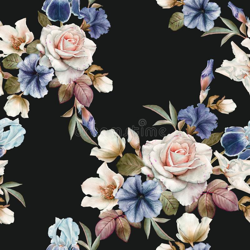 Bloemen naadloos patroon met petunia, hellebore, rozen en irissen stock illustratie
