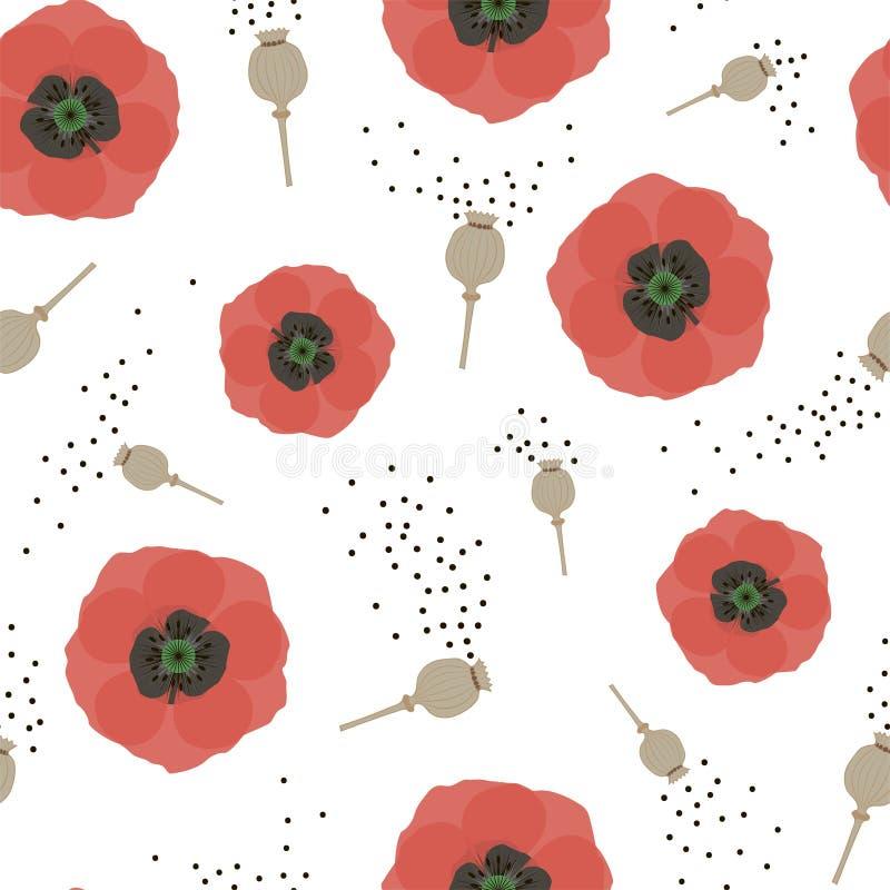 Bloemen naadloos patroon met rode papavers en zaden Vector stock illustratie