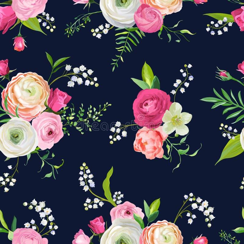 Bloemen Naadloos Patroon met Roze Bloemen en Lelie Botanische Achtergrond voor Stoffentextiel, Behang, Verpakkend Document stock illustratie