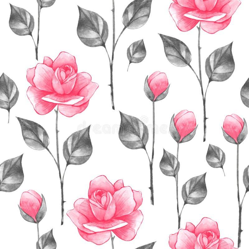 Bloemen naadloos patroon met rozen 1 royalty-vrije illustratie