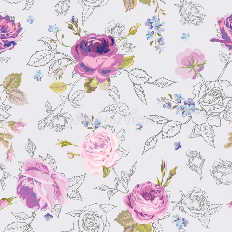 Bloemen Naadloos Patroon met Rozen in Geschetste Overzichtsstijl Bloemen Onvolledige Hand Getrokken Achtergrond voor Stof, Druk royalty-vrije illustratie