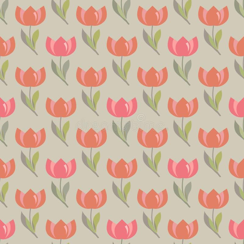 Bloemen naadloos patroon met tulpen vector illustratie