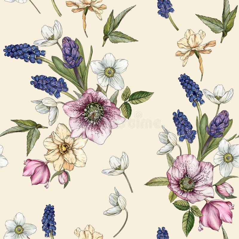 Bloemen naadloos patroon met waterverfnarcissen, muscari en hellebore royalty-vrije illustratie