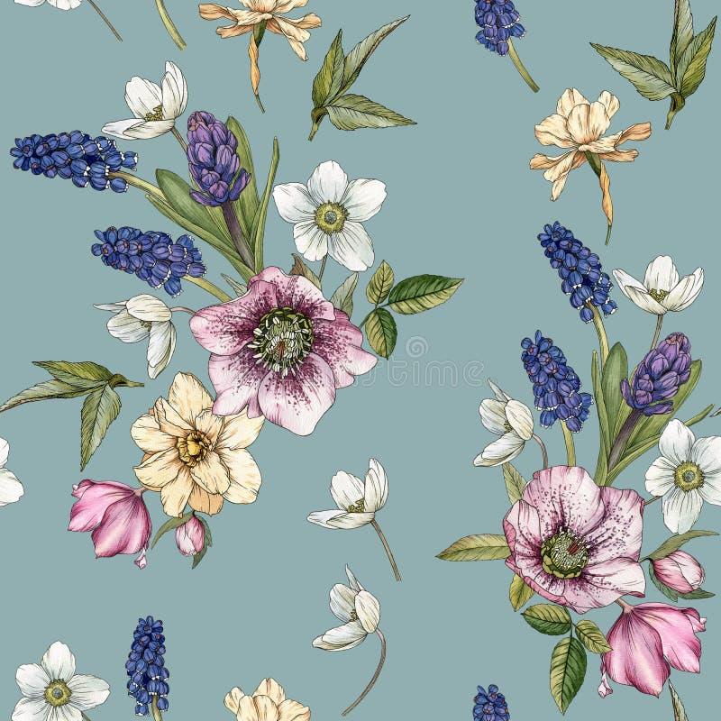 Bloemen naadloos patroon met waterverfnarcissen, muscari en hellebore vector illustratie