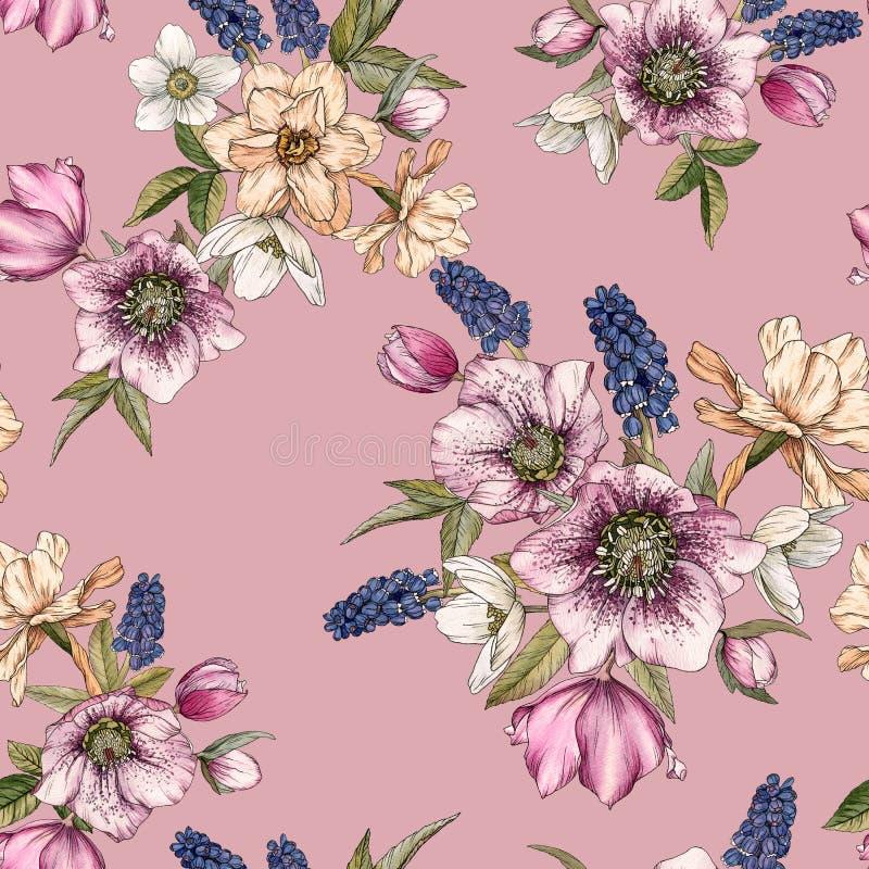 Bloemen naadloos patroon met waterverfnarcissen, muscari en hellebore stock illustratie