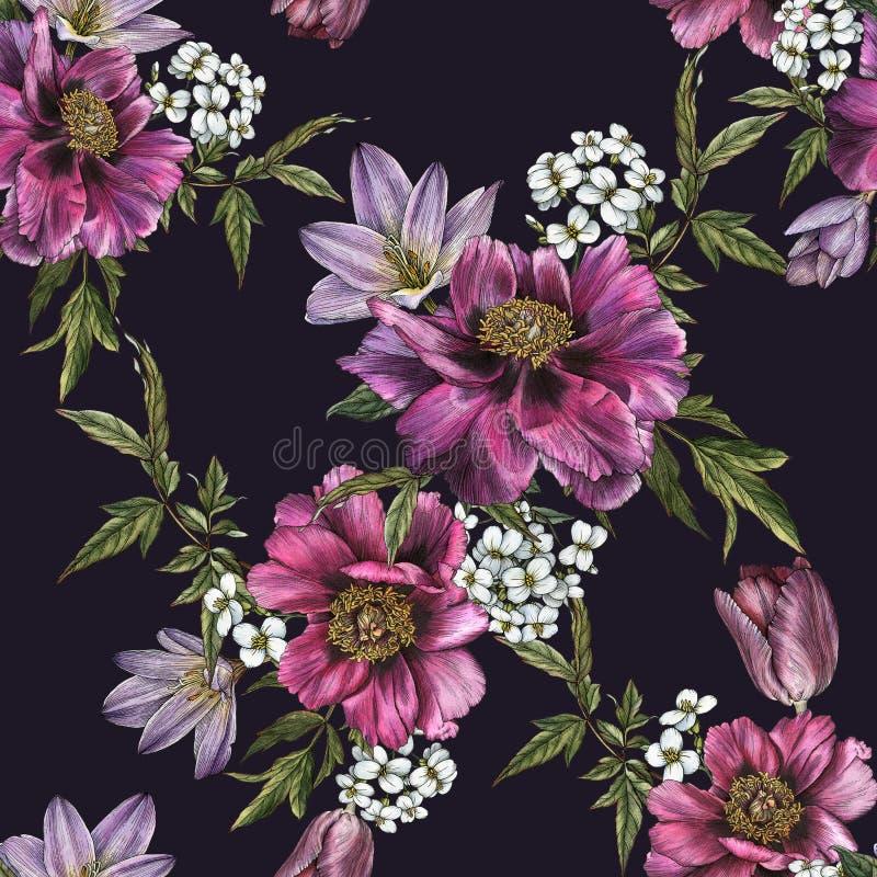 Bloemen naadloos patroon met waterverfpioenen, jasmijn en tulpen vector illustratie