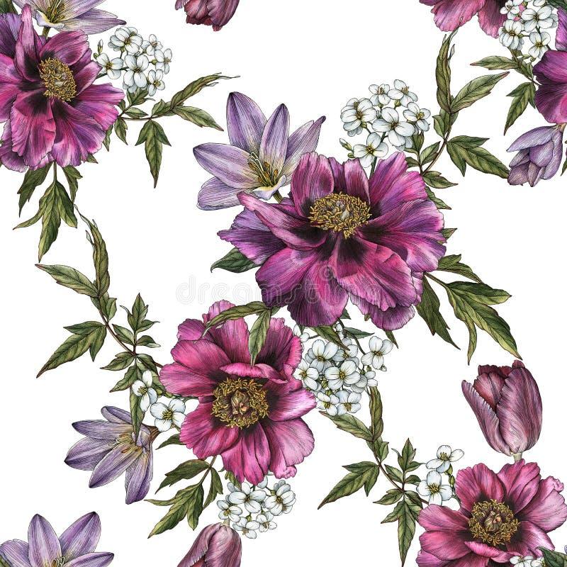 Bloemen naadloos patroon met waterverfpioenen, jasmijn en tulpen royalty-vrije illustratie