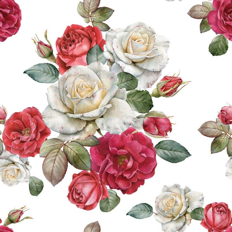 Bloemen naadloos patroon met waterverfrozen en bladeren vector illustratie