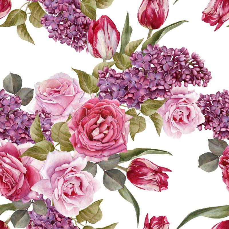 Bloemen naadloos patroon met waterverfsering, tulpen en rozen stock illustratie