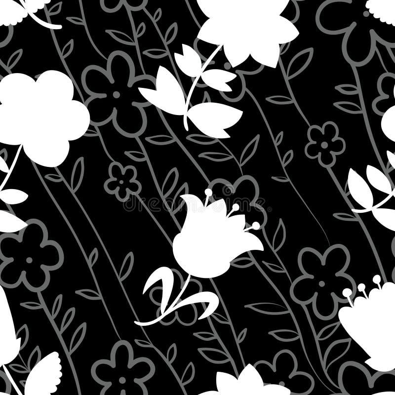 Bloemen naadloos patroon met witte silhouetten van bloemen Backg royalty-vrije illustratie