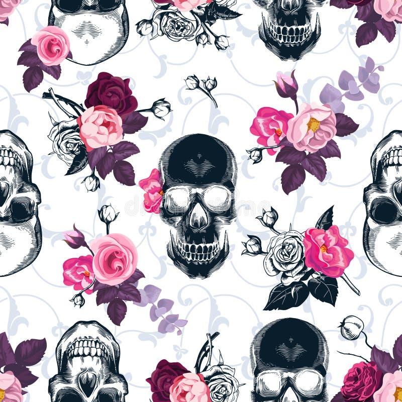 Bloemen naadloos patroon met zwart-wit menselijke schedels stock illustratie