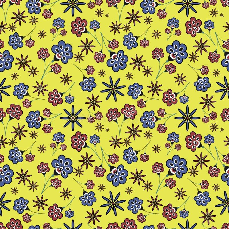 Bloemen Naadloos Patroon op Gele Achtergrond royalty-vrije stock fotografie