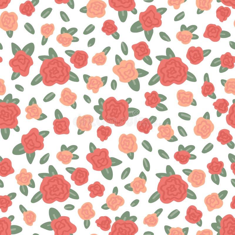Bloemen naadloos patroon op witte achtergrond Tedere rozen Vector illustratie royalty-vrije illustratie