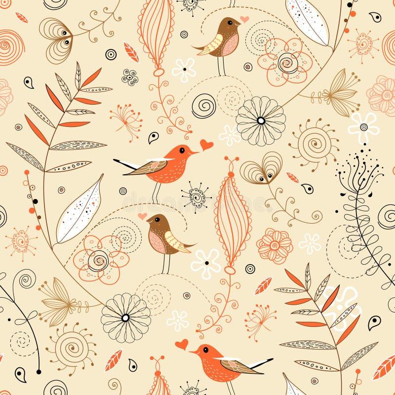 Bloemen naadloos patroon in retro stijl royalty-vrije illustratie