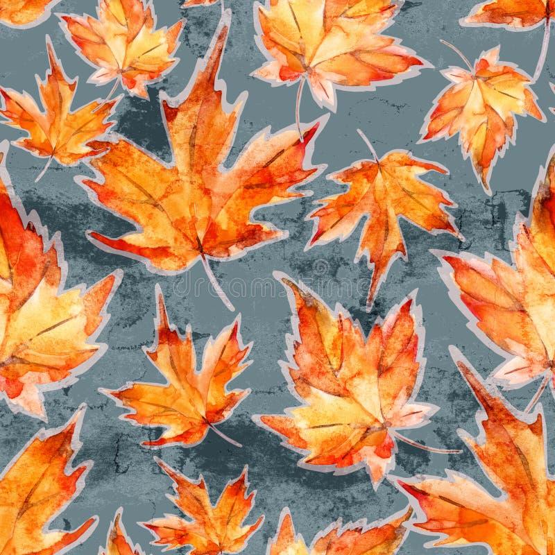 Bloemen naadloos patroon van de bladeren van de de herfstesdoorn op grijze grungeachtergrond royalty-vrije stock fotografie