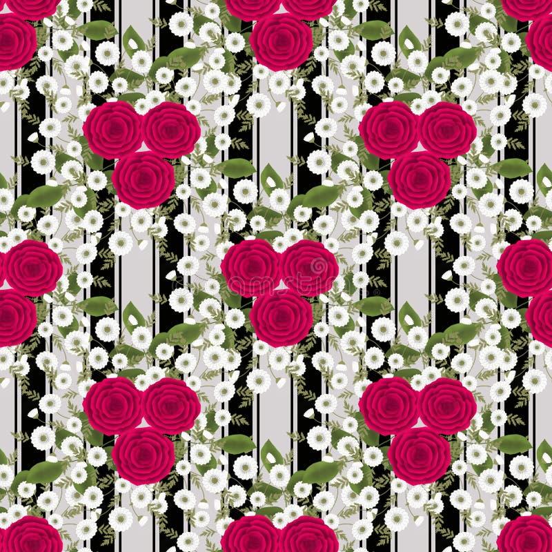 Bloemen naadloos uitstekend patroon Gestileerde silhouetten van bloemen en een tak op een witte achtergrond met zwarte strepen vector illustratie